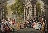VERON René Alexandre (d'après WATTEAU). «la sortie du bal». Toile signée en bas à droite. 32.5 x 46.5 cm. Certificat Françoise Pruvost. /4