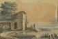 GALLIMARD. (Actif au XIXème siècle). «Paysage à la barque aux pêcheurs». «Paysage aux promeneurs sur le bord d'un étang». Paire d'aquarelles. 13 x 19 cm. Un signé et daté en bas à gauche Gallimard 1816, l'autre monogrammé et daté en bas à gauche