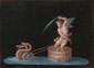 Ecole ITALIENNE du XIXème siècle, suiveur de Michelangelo MAESTRI. «Putto tiré par des tritons Putto, tiré par des tortues». Paire de gouaches sur papier noir. 22,5 x 30,5 cm. Expert: R. MILLET