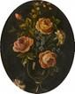 Ecole Française XIXème. «vase fleuri». Toile. 41 x 32.5 cm. Dans un encadrement à vue ovale. 38 x 31 cm. /13