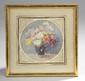 Ecole Française fin XIXème, début XXème. «vase de fleurs». Aquarelle ronde. Diam.: 10 cm