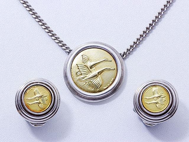 LALAOUNIS. Parure en or et argent, composé d'un collier et d'une paire de clips d'oreilles.