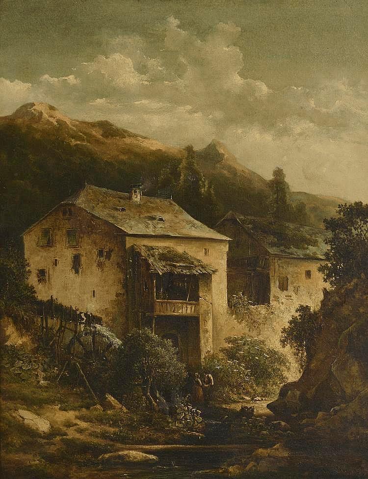 *Ecole Française XIXème. «paysage de montagne animé». Toile. (soulèvement). 80 x 63 cm