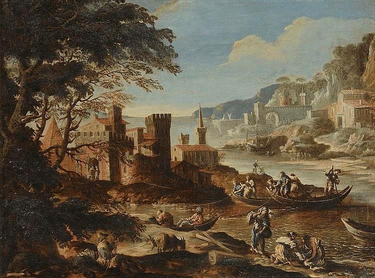 *PIANCA G A (attribué à). Ecole Italienne XVIIIème. «paysage marin avec château». Toile. 86 x 115 cm