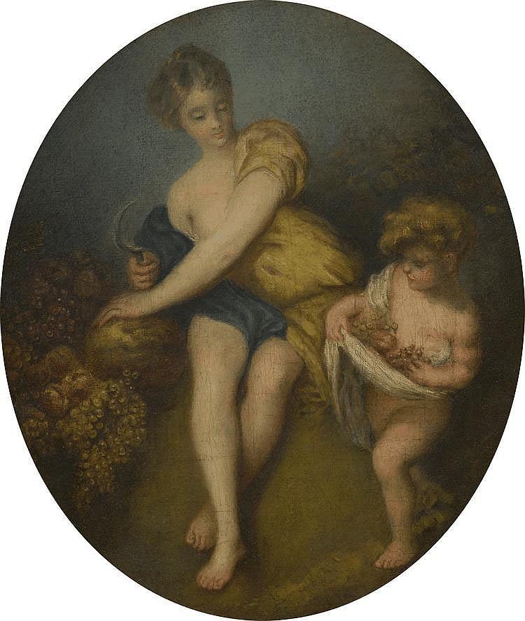 Ecole Française  XIXème.  « les vendanges ». Toile à vue ovale. 50 x 42.5 cm