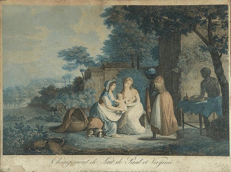 LAMBERT (d'après). « changement de lait de Paul et Virginie ». Gravure couleur par Augustin Legrand