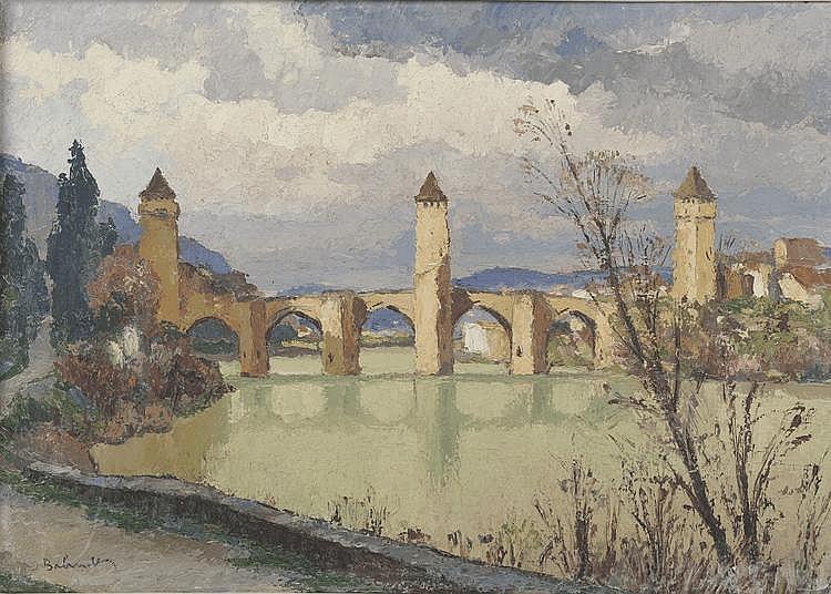 BALANDE. «Pont de Cahors». Toile signée en bas à gauche. 46 X 65. Au dos étiquette d'exposition illisible.