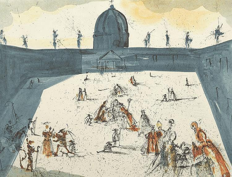 DALI (d'après). «Personnages dans la cour du palais». Lithographie couleur n°56/350, signée en bas à droite au crayon. 55 X 74.