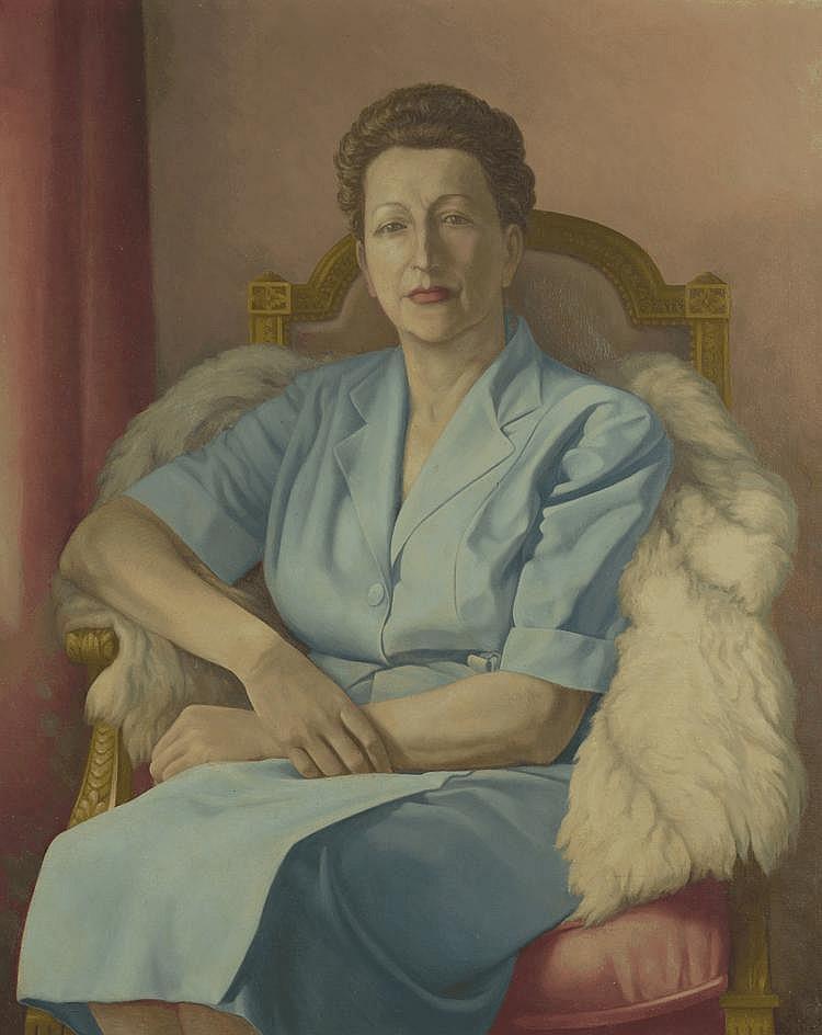 ZEDOT. «Portrait de dame assis». Toile signée en bas à droite, datée 52. 100 X 82.