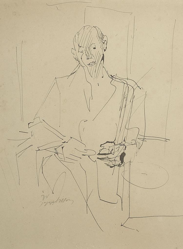 VILLON Jacques. «Homme assis». Plume signée en bas à gauche. 31 X 23.