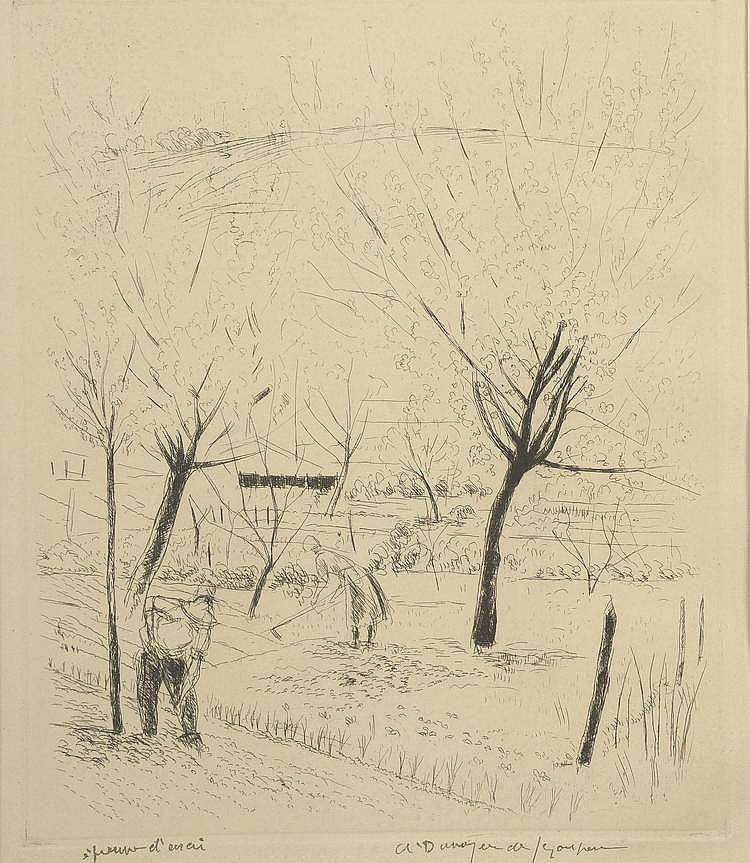 DUNOYER DE SEGONZAC. «Travail du potager». Lithographie noir & blanc, épreuve d'artiste. 30 X 25 à vue.