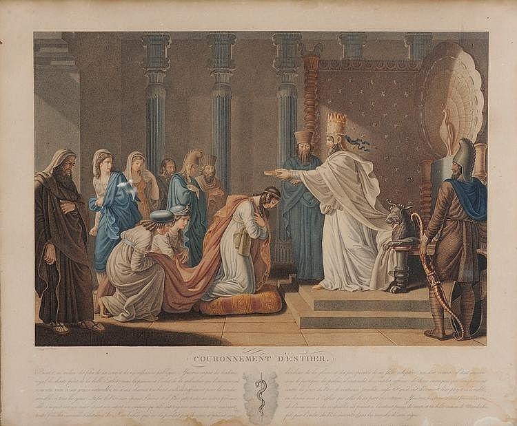 Fleury (d'après). «couronnement d'Ester». «évanouissement d'Ester». «triomphe de Mardochée». Trois gravures couleur. 44x54 à vue. Cadre à palmettes en bois et stuc doré. /137