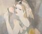 Marie LAURENCIN (1883 - 1956). «jeune femme à la rose». Lithographie couleur. Marquée HC, signée dans la marge au crayon. 50.5 x 65 cm. (très petits manques de papier dans la marge en bas)