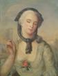 Ecole Française XIXème. «jeune femme à l'éventail». Huile sur toile. 71 x 55 cm. /40