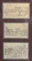 Eugène BOUDIN. (Honfleur 1824 - Deauville 1898). Trois dessins dans un même montage . «Etude de vaches». «Chevaux et vache». «Etude de vaches près d'un arbre». Crayon noir. 11,5 x 21 cm chaque. Annotés sur deux dessins.. Piqûres . Expert: R.