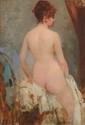 GERVEX. « la sortie du bain». Toile signée en bas à gauche. (petite restauration, un enfoncement). 56 x 38 cm. /28