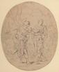 Attribué à Van LOO. «Sujet antique «. Plume. 18 x 14,5 cm. Expert: R. MILLET.