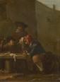 Ecole Allemande XVIIIème, attribué à Pieter de BLOOT. «réunion de buveurs». Cuivre. 16.4 x 12.3 cm
