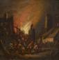Ecole Hollandaise  XVIIIème, attribué à Egbert VAN DER POEL. «incendie d'une ville». Bois. 13 x 13 cm