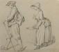 JEAURAT Etienne (1699 - 1789). «étude de paysans». Pierre noire. 31 x 35 cm