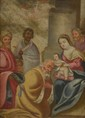 Ecole Italienne fin XVIIIème, début XVIIIème. «la vierge et l'enfant Jésus», «l'adoration». Deux cuivres. 21 x 15.5 cm. 22.5 x 17.5 cm. (manques sur l'un)