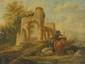 Ecole HOLLANDAISE de la fin du XVIIIème siècle. «Paysage aux bergers dans des ruines». Paire de toiles. 24 x 31,5 cm. Portent une inscription au revers du châssis Castiglione. Expert: R. MILLET