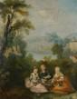 Ecole FRANCAISE du XVIIIème siècle. «Trois enfants tressant des guirlandes de fleurs». Toile. 79 x 63 cm. Restaurations.
