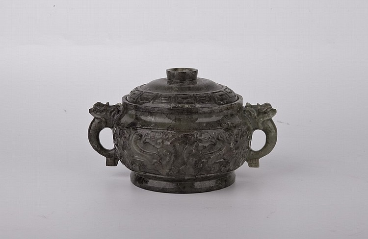 Spinach Jade Carved Cistern with lid, Imperial Color