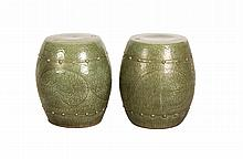 Pair of Chinese Celadon  Porcelain Stools