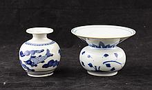 Two Pieces Chinese White and Blue Porcelain Jar