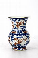 Chinese Blue and White with Iron-red Glazed Porcelain Vase