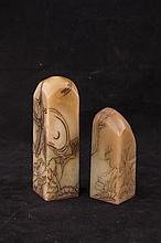 Two Pieces of Carved Soapstone Seal
