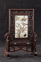 Chinese Famille Rose Porcelain Tablescreen