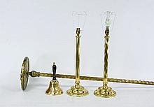 A brass standard lamp with fluted stem, 137.25cm (