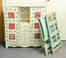 A doll's painted compactum wardrobe, 78cm (30.5'')