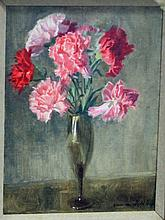 Norman Hepple/Still Life of Carnations/signed/oil