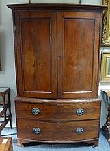 A mahogany linen press, fitted for hanging with a