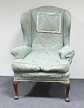 A Queen Anne style wing armchair