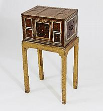 An Indo-Portuguese table cabinet, veneered in hard