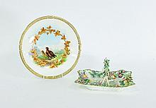A Royal Worcester plate, painted grouse within an
