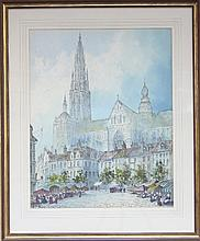 Paul Braddon/North European Cathedral/signed/water