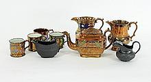 A quantity of copper lustre ware