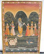 20th Century Indian School/Krishna accompanied by