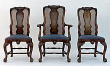 A Queen Anne revival walnut dining room suite, inc