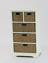 A modern white chest with five fitted basket drawe