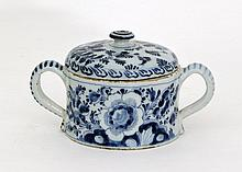 A Dutch delft blue and white posset and cover, ear