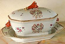 A Chinese armorial tureen, cover and stand, Qianlo