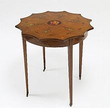 An Edwardian satin birch painted occasional table,
