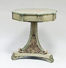 A Victorian painted octagonal topped drum table,