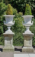 A pair of cast iron two-handled campana vases,